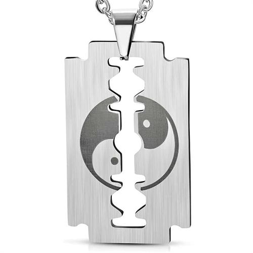 Image of   Yin og yang halssmykke i stål.