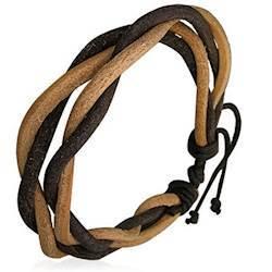 Tvefarvet læderarmbånd til mænd