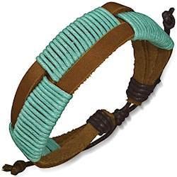Læderarmbånd med turkis bomulds flet