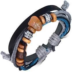 Læderfashion armbånd med charms.