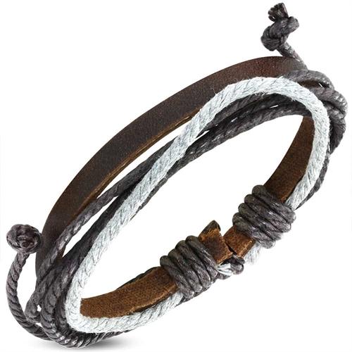 Fashionarmbånd i læder og bomuld