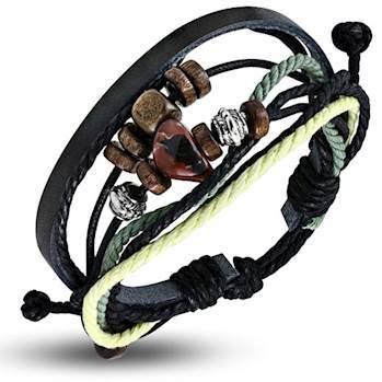 Image of   Armbånd i læder og bomuld.