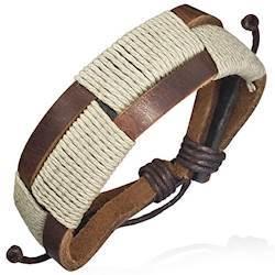 Image of   Armbånd lavet af bomuld og læder
