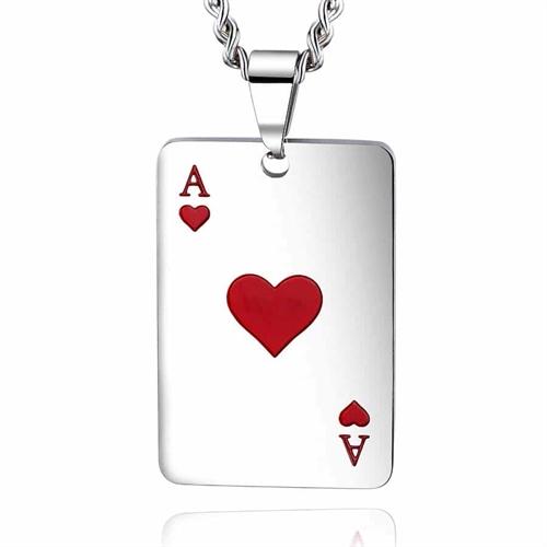 Hjerter ES halssmykke i blank stål.