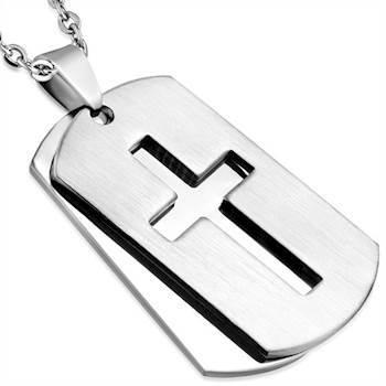 Halssmykke i Rustfrit stål med kors.