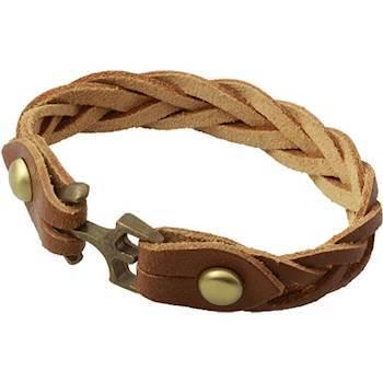 Brun Læderflettet armbånd.