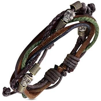 Skull læderarmbånd 18-20cm
