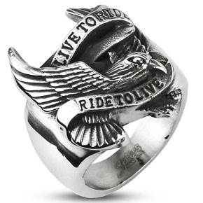 "Image of   Biker ring i Stål ""Eagle"""