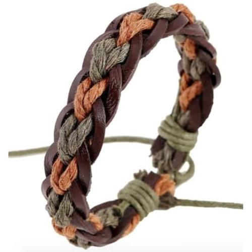 Faz armbånd læder og bomuld