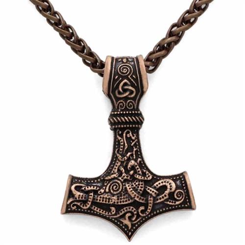 Bronz thorshammer med kæde