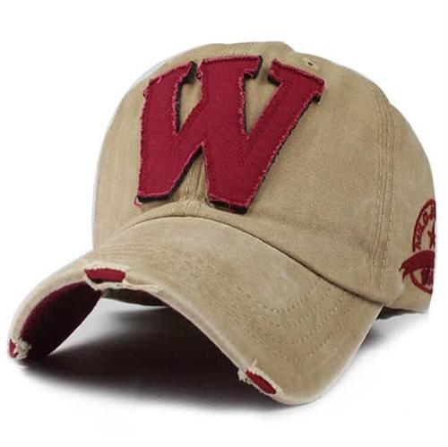 Image of   W Cap i khaki og rød