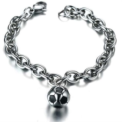 Billede af Fodbold armbånd i stål.