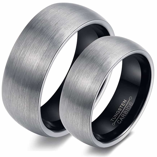 Image of   Grey tungsten forlovelse/vielsesring