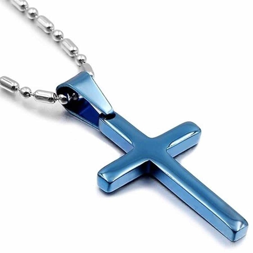 Bluecoatet kors i stål med kæde - Blue Steel
