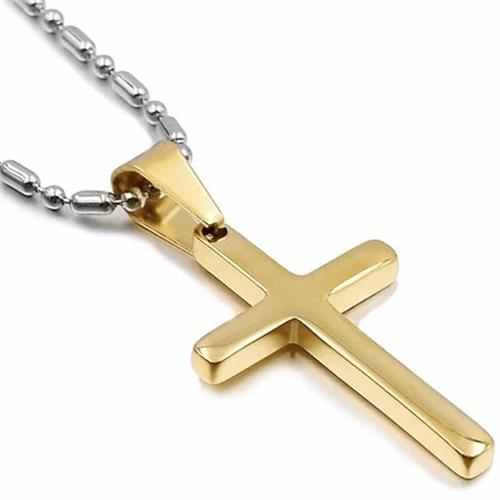 Forgyldt kors i stål med kæde - Golden
