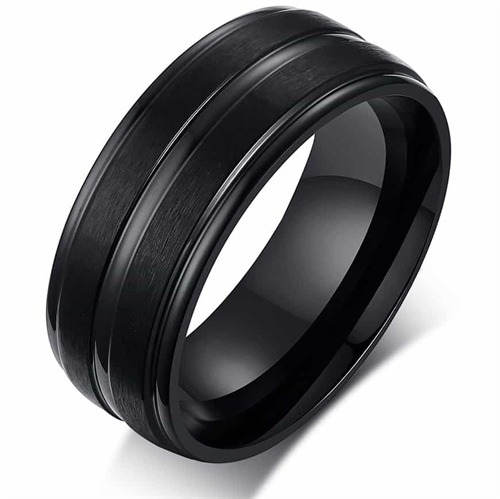 Rustfri stål ring sort