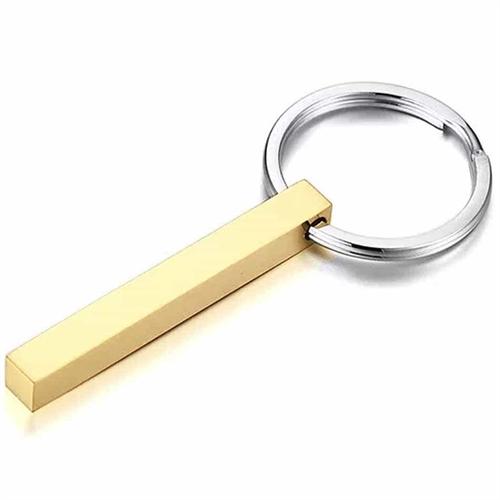 Pine nøglering 5cm Golden Steel