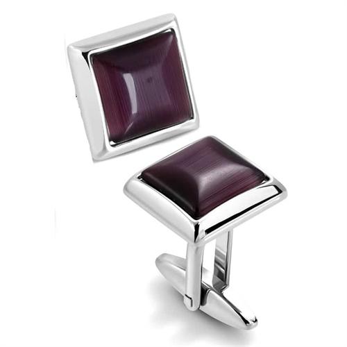Manchetknapper i rustfri stål og purple