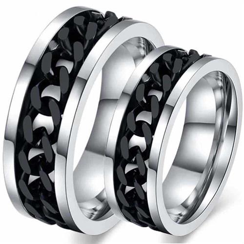 Black chain forlovelsesring