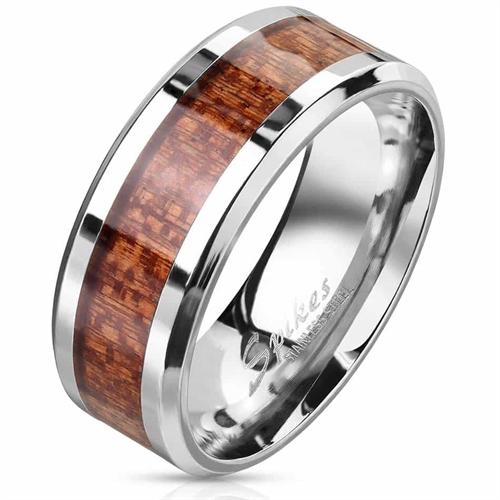 Tree inlay og rustfri stål ring