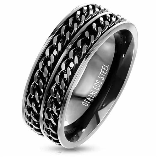 Two chains herrering i blackcoatet stål
