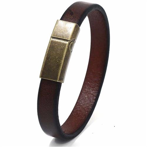 Netri læderarmbånd med bronze magnetlås