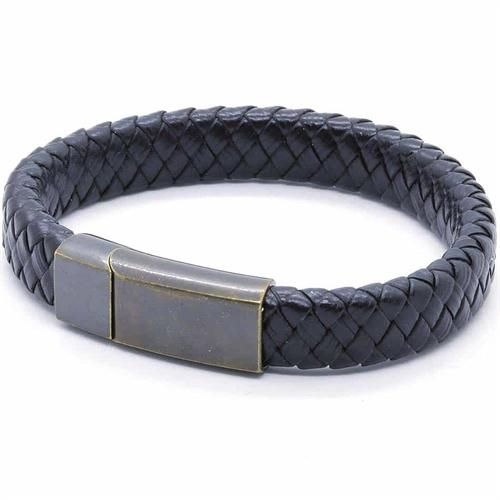PX7 Netri sort læderflet og mørk stål lås