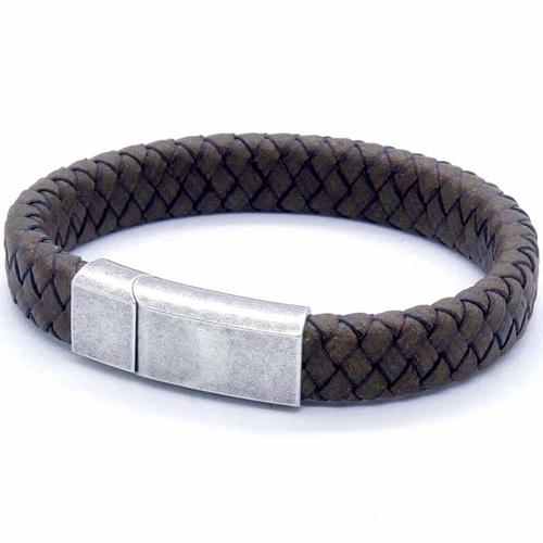 PX Netri brun læderflet og oxyderet stål lås