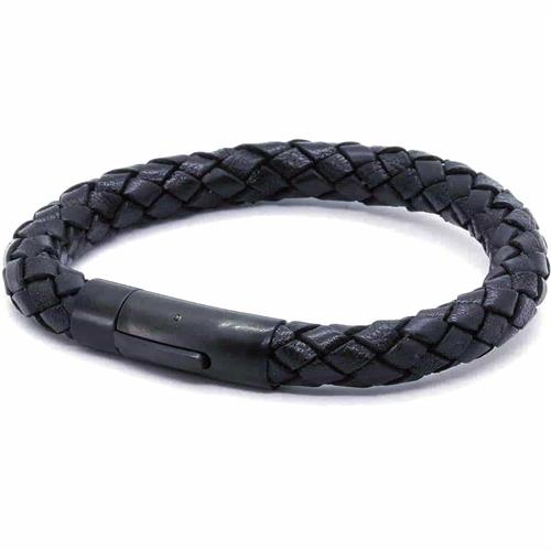 Mænd Chart læderarmbånd sort/sort.