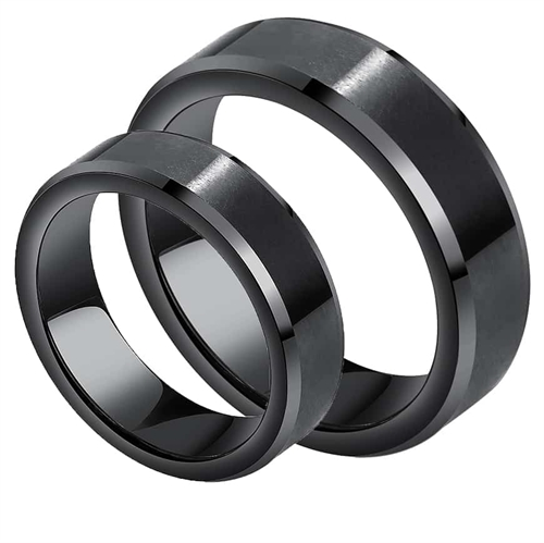 Image of   Sort Kope Forlovelsesring tungsten
